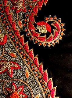 A stunning paisley with Kashida work. An excellent technique in hand embroidery.