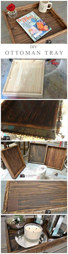 DIY Ottoman Tray - a great beginner project. #ottomantray #diytray #woodworkingdesign
