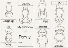 Minibook of Family Preschool Family, Preschool Themes, Family Crafts, Art Activities For Kids, Toddler Activities, Human Life Cycle, Red Classroom, English Worksheets For Kindergarten, Family Coloring Pages