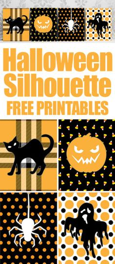 Halloween silhouette set of 4 FREE printables. Print and place in 8x10 inch frame! Super cute for a fireplace mantel!!