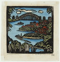 Margaret Preston - Sydney Bridge Australian Painters, Australian Artists, Margaret Preston, Victoria Art, Nz Art, Sculpture, Aboriginal Art, Linocut Prints, Artwork Prints