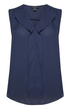 Primark - Navy Sleeveless Waterfall Blouse