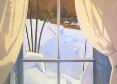 "Lois Dodd, ""Ice in Window"" (1982), oil on linen, 36 x 50 inches"