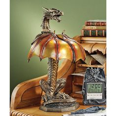 Design Toscano CL5559 Dragon Strike Illuminated Sculpture Table Lamp at ATG Stores