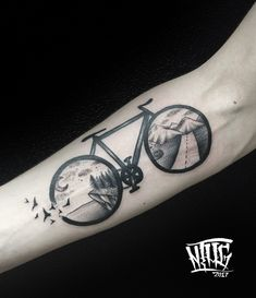 Blackwork tattoo on forearm by Pavel Goncharenko Bike Tattoos, Forearm Tattoos, Sleeve Tattoos, Tatoos, Cycling Tattoo, Bicycle Tattoo, Bike Art, First Tattoo, Future Tattoos