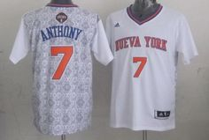 Carmelo Anthony Authentic In White Adidas NBA New York Knicks New Latin Nights #7 Men's Jersey