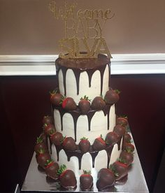 Chocolate drip cake w chocolate covered strawberries!