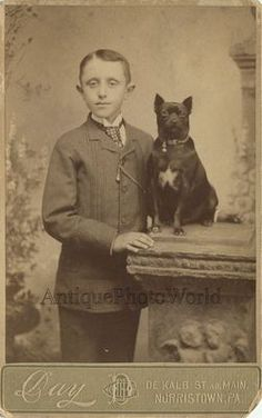 Funny little boy with cute dog antique photo