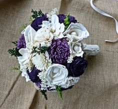 Alternative Wedding Bouquet - Custom Purple Lilac Ivory Bridal Bridesmaid Bouquet, Keepsake Bouquet.