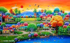 CRUCITA GUTIÉRREZ SEGOVIA: MIS AMIGOS PINTORES - HUDRY HAYAT Landscape Art, Landscape Paintings, Small Canvas Art, Acrylic Artwork, Primitive Folk Art, Naive Art, Mexican Art, Whimsical Art, Pretty Art
