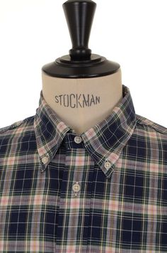 Gitman Vintage Button Down Navy/Pink Madras Check