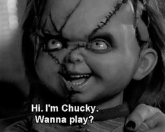 Hi im chucky, wanna play? halloween horror halloween pictures halloween images childs play im chucky Horror Icons, Horror Films, Chucky And His Bride, Scary Chucky, Chucky Movies, Child's Play Movie, Childs Play Chucky, 30 Day Ab Challenge, Horror Movie Characters