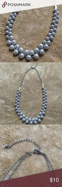 """Light gray """"Pearl"""" Neclace Purchased at Kohl's in fall 2016 for a wedding. Worn 2x. Silver-tone adjustable chain. Kohls Jewelry Necklaces"""
