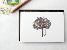 Tree Swing Letterpress Cards. Set of 6