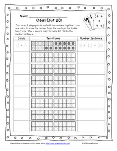 deal out turn over 2 playing cards and add the numbers together use one color to show the number from the cards on the double ten frame