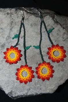 Huichol Beading | Huichol Peyote Beaded Earrings