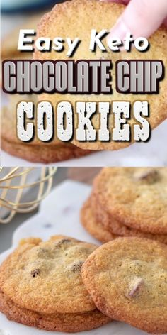 Hands-down the BEST Keto Chocolate Chip Cookies I've ever tasted! Easy to make. Hands-down the BEST Keto Chocolate Chip Cookies I've ever tasted! Easy to make, absolutely delicious, and only net carbs per cookie! Keto Chocolate Chip Cookies, Keto Cookies, Cookies Et Biscuits, Almond Flour Cookies, Chocolate Fudge, Desserts Keto, Keto Snacks, Dessert Recipes, Breakfast Recipes