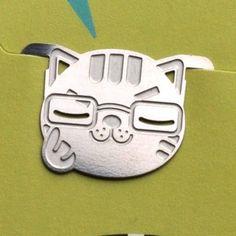 cute mini metal SMART KITTY BOY bookmark silver color for gift korea fashion
