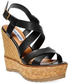 Steve Madden Ellaa Cork Platform Wedge Sandals-Black or Natural -$59.99