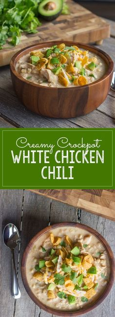 Creamy Crockpot Mexican White Chicken Chili _ Original recipe calls for canned soup & a packet of taco seasoning, & I made a white sauce substitute for the canned soup, & added spices one by one! Go crazy with toppings! Fritos, shredded cheese, avocado, cilantro, & sour cream are my favorite!