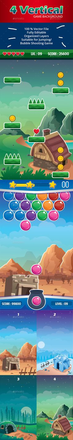 Vector game background in vertical orientation suitable for jumping, bubble, shooting, candy game, etc.  We made in illustrator fi