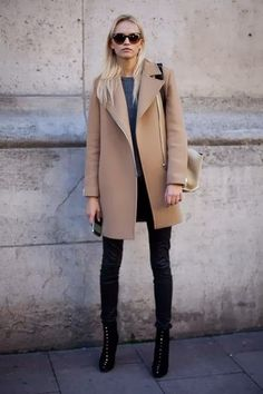 Shop this look on Lookastic:  http://lookastic.com/women/looks/sunglasses-crew-neck-sweater-crossbody-bag-coat-skinny-jeans-ankle-boots/5705  — Brown Sunglasses  — Navy Crew-neck Sweater  — Beige Leather Crossbody Bag  — Camel Coat  — Black Skinny Jeans  — Black Studded Suede Ankle Boots
