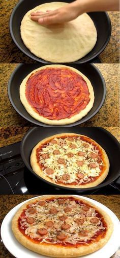 Leckere hausgemachte Pfanne Pizza - Food and drink - Quick Recipes, Pizza Recipes, Cooking Recipes, Comida Pizza, Pizza Food, Good Food, Yummy Food, Quiches, Clean Eating Snacks