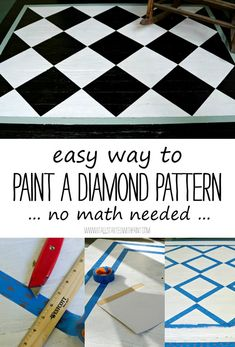 how-to-paint-diamond-pattern-easy-way use Safe-Release™ Painter's Tape Advanced Delicate Surfaces with Edge-Lock™ Paint Line Protector 2080 to tape off the squares that would stay the base color. Painted Porch Floors, Painted Floor Cloths, Painted Concrete Floors, Porch Flooring, Painted Rug, Painting Concrete, Hand Painted Furniture, Paint Furniture, Diy Painting