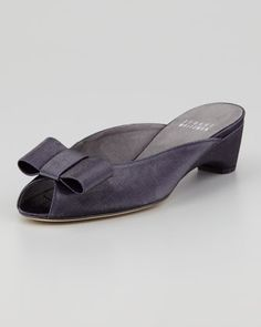 Candy Shimmery Linen Slip-On Wedge, Ink Navy by Stuart Weitzman at Neiman Marcus.