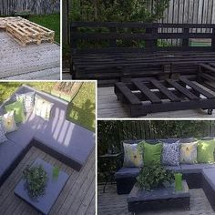 salon de jardin diy pallet board bench n cushions