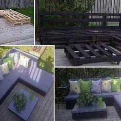 salon de jardin diy pallet board bench n cushions