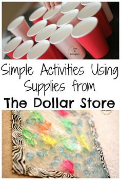 Simple Activities Using Supplies from The Dollar Store....so many great products and ideas here!