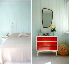 The mirror, the red and white dresser, the painted wood paneling, and that poofy thing - I love it all