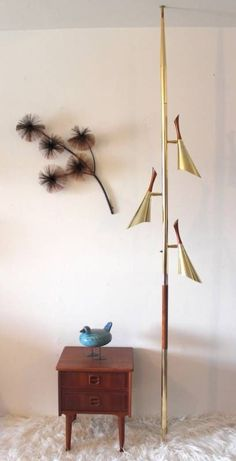 mid-century danish modern LAUREL Tension POLE Cone LAMP atomic WALNUT BRASS alum