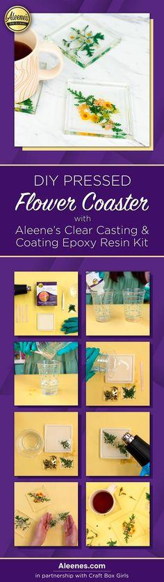 Aleene's Original Glues - DIY Epoxy Resin Pressed Flower Coasters #aleenes #tackyglue #craft #diy Glue Crafts, Resin Crafts, Resin Art, Fabric Crafts, Quick Crafts, Crafts For Kids, Easy Slime Recipe, Diy Epoxy, Classroom Crafts