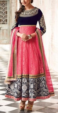 Beautiful #Anarkali_suit with Pink & Blue color contrasts.