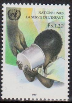 United Nations postage stamp commemorating Children's Survival, 1985.