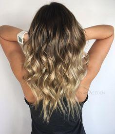 Medium-Brown Hair with Golden-Blonde and Platinum-Blonde Balayage