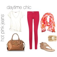 """""""Hot Pink Jeans - Done Casual"""" by laurennaughton on Polyvore  Love this look. I would like to dress up my tshirt and jeans!"""