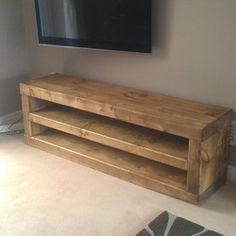 SOLID WOOD CHUNKY TV UNIT. SIDE TABLE. CAVEMAN FURNITURE