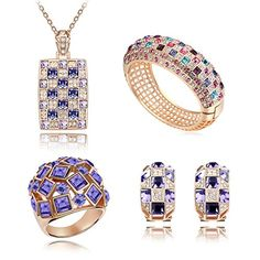 "Mondaynoon ""Luxurious Queen"" Swarovski Elements Jewelry Set, Australia Import Crystal Necklace, Bracelets, Earrings and Ring Ensemble (Purple) Mondaynoon http://www.amazon.com/dp/B00GG6CCZS/ref=cm_sw_r_pi_dp_RiWAub0R23YAS"