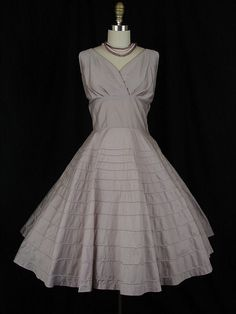 Vintage 1950s Gray Cotton Dress