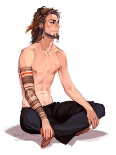 Male character illustration/artwork by the artist littleulvar @deviantart. Nice pose!