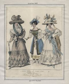 """LAPL, World of Fashion, October 1828. """"Walking Dresses. Costumes of All Nations 33: [Polish?]"""""""