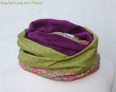 Loop Winter grün-violett-pink von byGretchen auf DaWanda.com wunderschöner Wendeloop mit Kuschelflies und Baumwollstoff