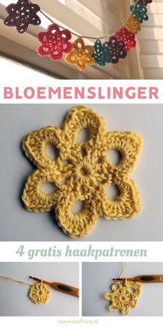 Patroon bloemenslinger haken. Vier gratis Nederlandse haakpatronen. Bunting Bag, Bunting Banner, Crochet Home, Knit Crochet, Noel Gifts, Crochet Garland, Holly Hobbie, Crochet For Beginners, Crochet Flowers