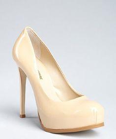 Pour la Victoire camel patent leather hidden platform pumps | BLUEFLY up to 70% off designer brands at bluefly.com