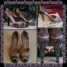 FIND THESE BEAUTIES IN @pfassionista CLOSET Gorgeous Satin Sera lavender (glicine) and snake skin Prada heels with peep toe. Stunning rhinestone embedded heels. Heels are approximately 3.5 inches high. Comes with 2 Prada dust bags. Worn twice, bottoms slightly scuffed but otherwise in excellent condition. L250 Prada Shoes Sandals