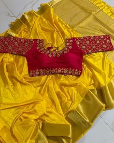 Pom Pom is just for reference. Saree doesnt have pom pom. Saree will reach after 4 to 5 weeks. Blouse:- Running. Wedding Saree Blouse Designs, Pattu Saree Blouse Designs, Fancy Blouse Designs, Saree Blouse Patterns, Stylish Blouse Design, Designer Blouse Patterns, Yellow Art, Color Yellow, Wedding Wear