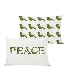 Take a look at this Ivory & Green 'Peace' Reversible Throw Pillow by OneBellaCasa on today! Boho Throw Pillows, Bed Pillows, World Peace Day, Peace Love And Understanding, Christmas Store, Peace And Love, Decorative Items, Christmas Decorations, Ivory